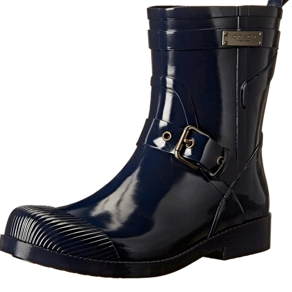 Coach Lester Shiny Rubber Rain Boots